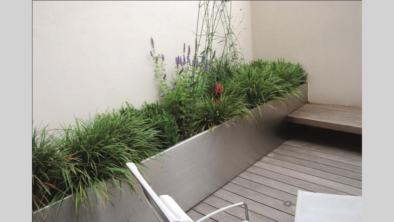 Inox bloembakken inox plantenbakken for Buiten terras