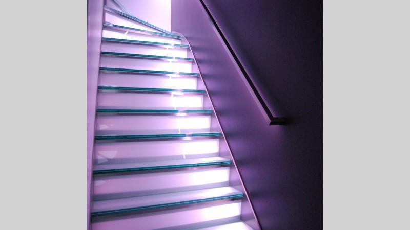 inox trap met glazen treden en led verlichting vdc inox