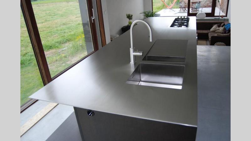 Rvs Keuken Plaat : Keukenblad inox plaat spoelbak afloop ingebouwde kookplaat VDC inox