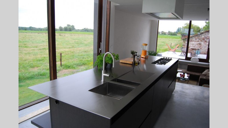 Keukenblad inox plaat spoelbak afloop ingebouwde kookplaat VDC inox